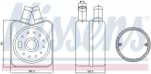 масляный радиатор, двигательное масло NISSENS 90608