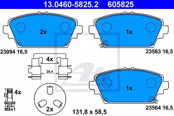 Комплект тормозных колодок, дисковый тормоз ATE 13046058252