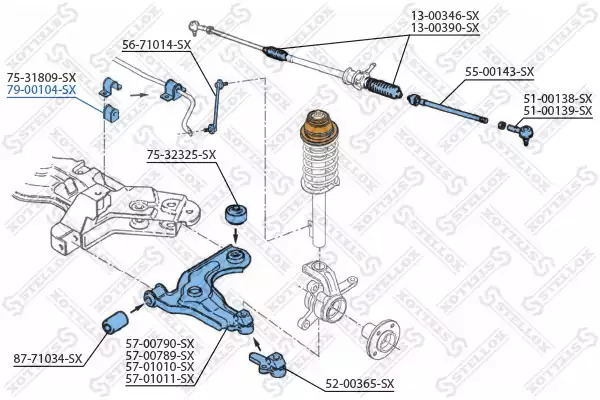 Опора, стабилизатор STELLOX 7900104SX