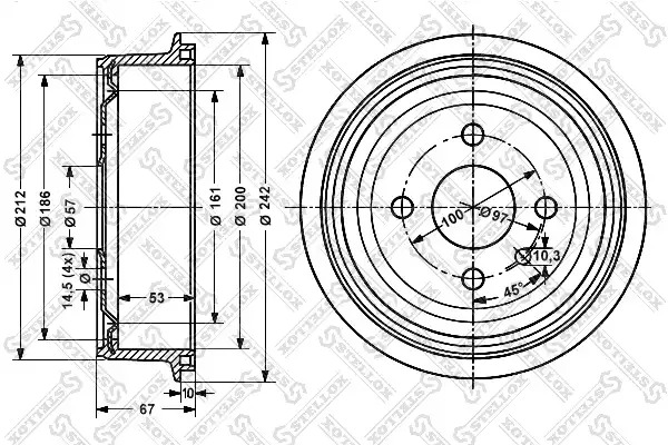 Тормозной барабан STELLOX 60259905SX